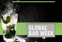 Palavras Global Bar Week em letras brancas em arte com copo transparente de bebida ao lado esquerdo, com fundo preto com faixa verde claro